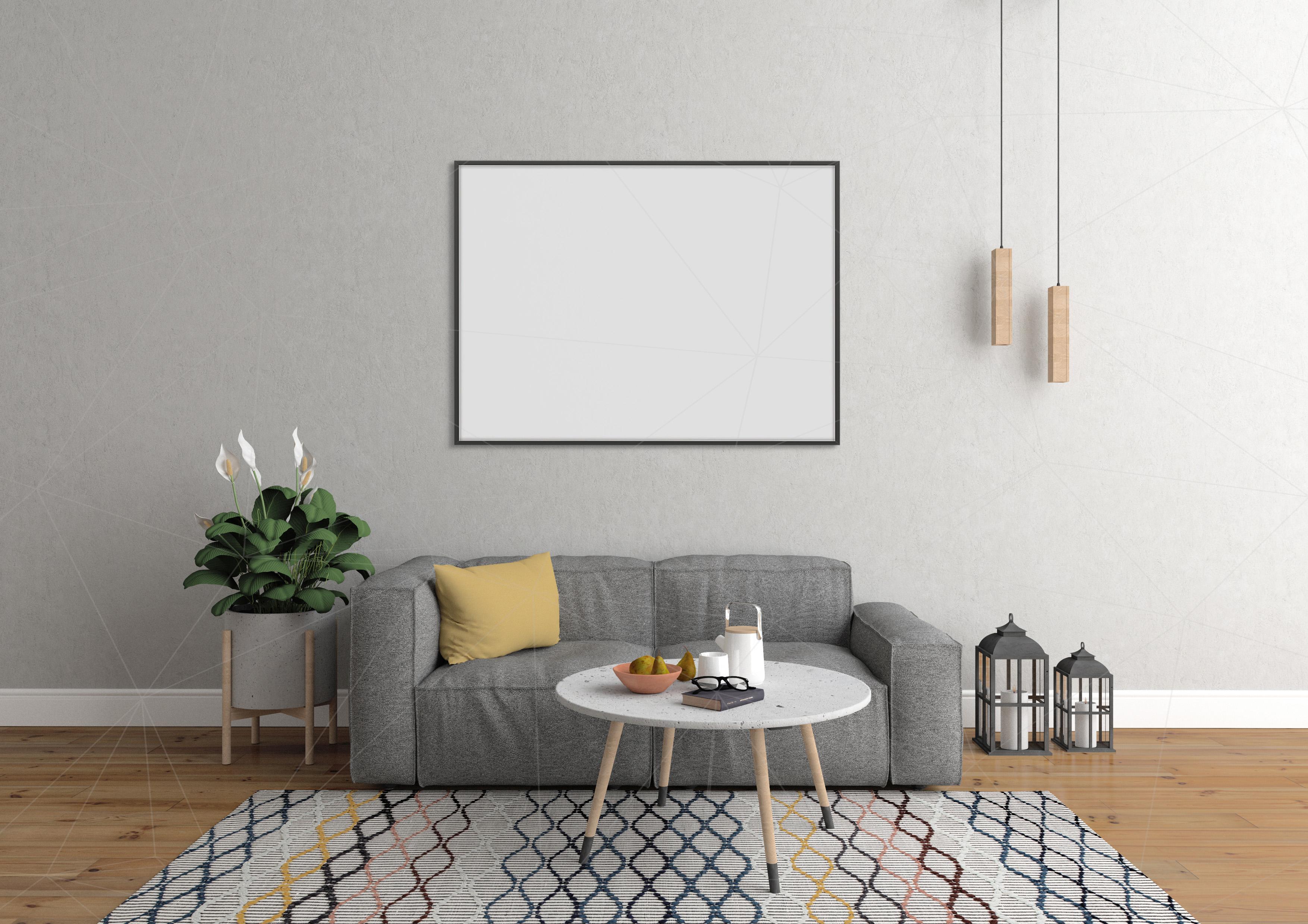 Interior mockup bundle - blank wall mock up example image 1