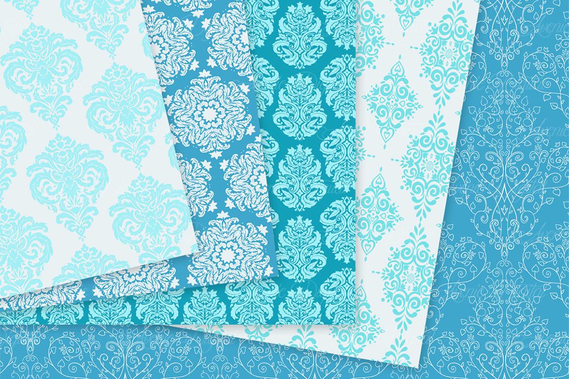 28 Soft Blue Damask Patterns - Seamless Digital Papers Bundle example image 8