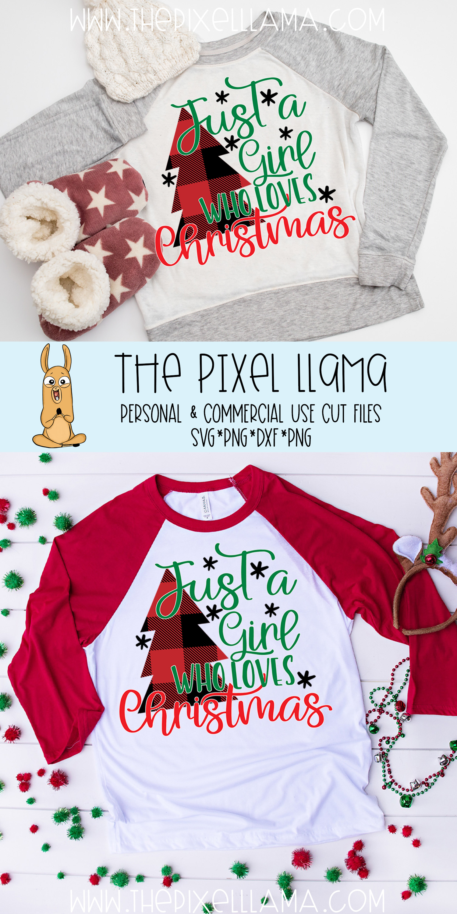 Just A Girl Who Loves Christmas Plaid Christmas SVG example image 3