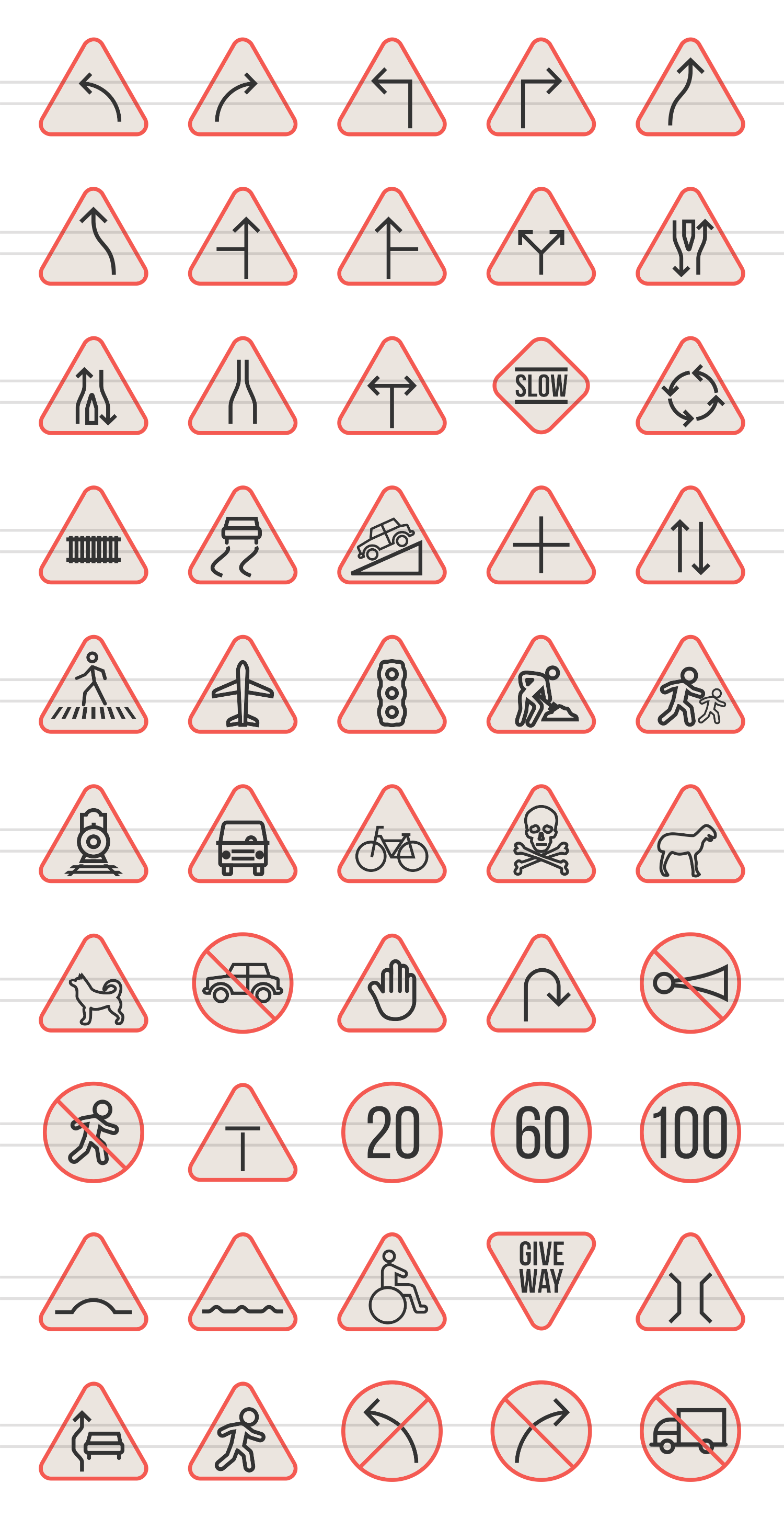 50 Traffic Signs Linear Multicolor Icons example image 2