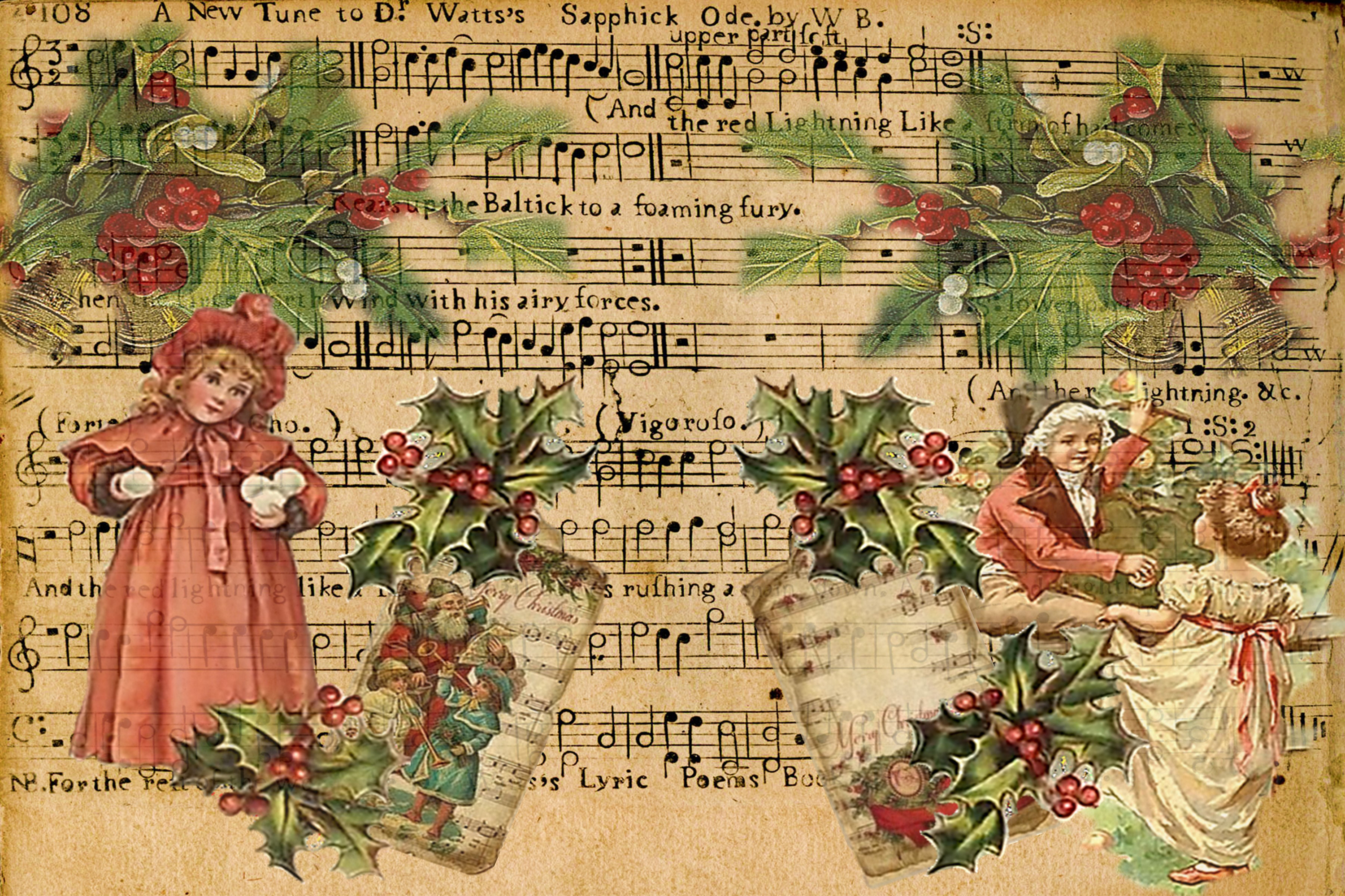 Country Christmas Backgrounds with FREE Ephemera and Clipart example image 2