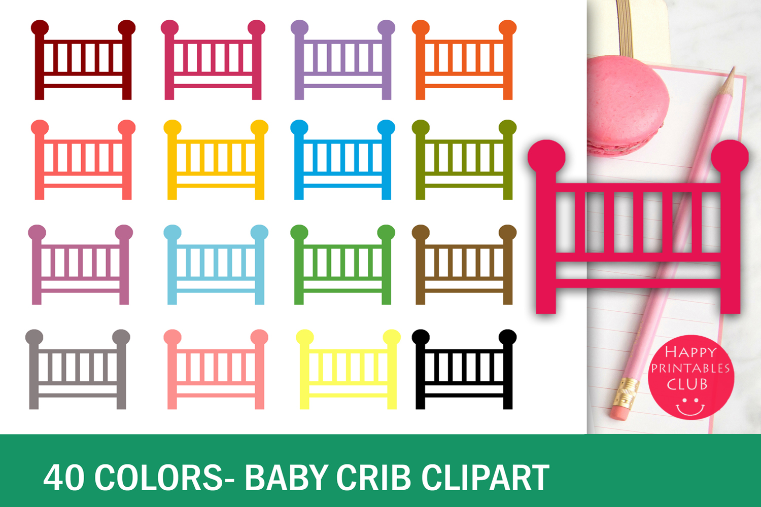 40 Baby Crib Clipart-Colorful Baby Crib Transparent Images example image 2
