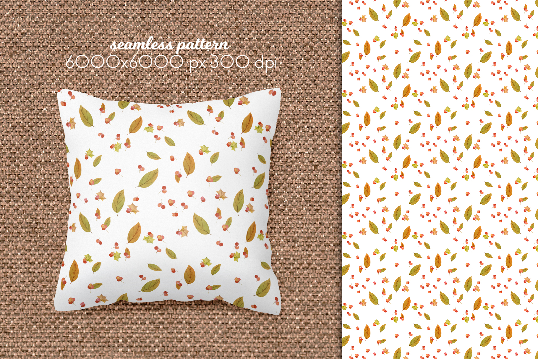 Watercolor Autumn Seamless Patterns Collection example image 8