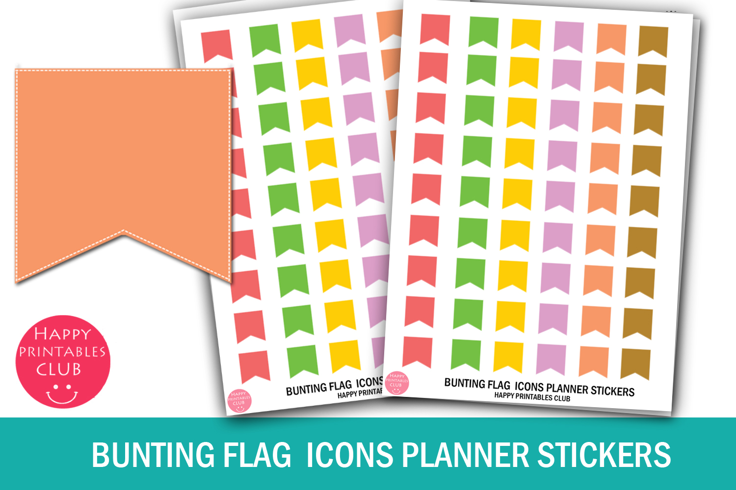 Bunting Flag Icons Planner Stickers- Bunting Flag Stickers example image 1