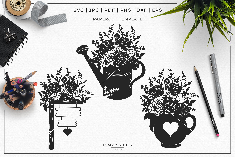 Romantic Floral Wedding Bundle - Papercut SVG DXF PNG JPG PD example image 4