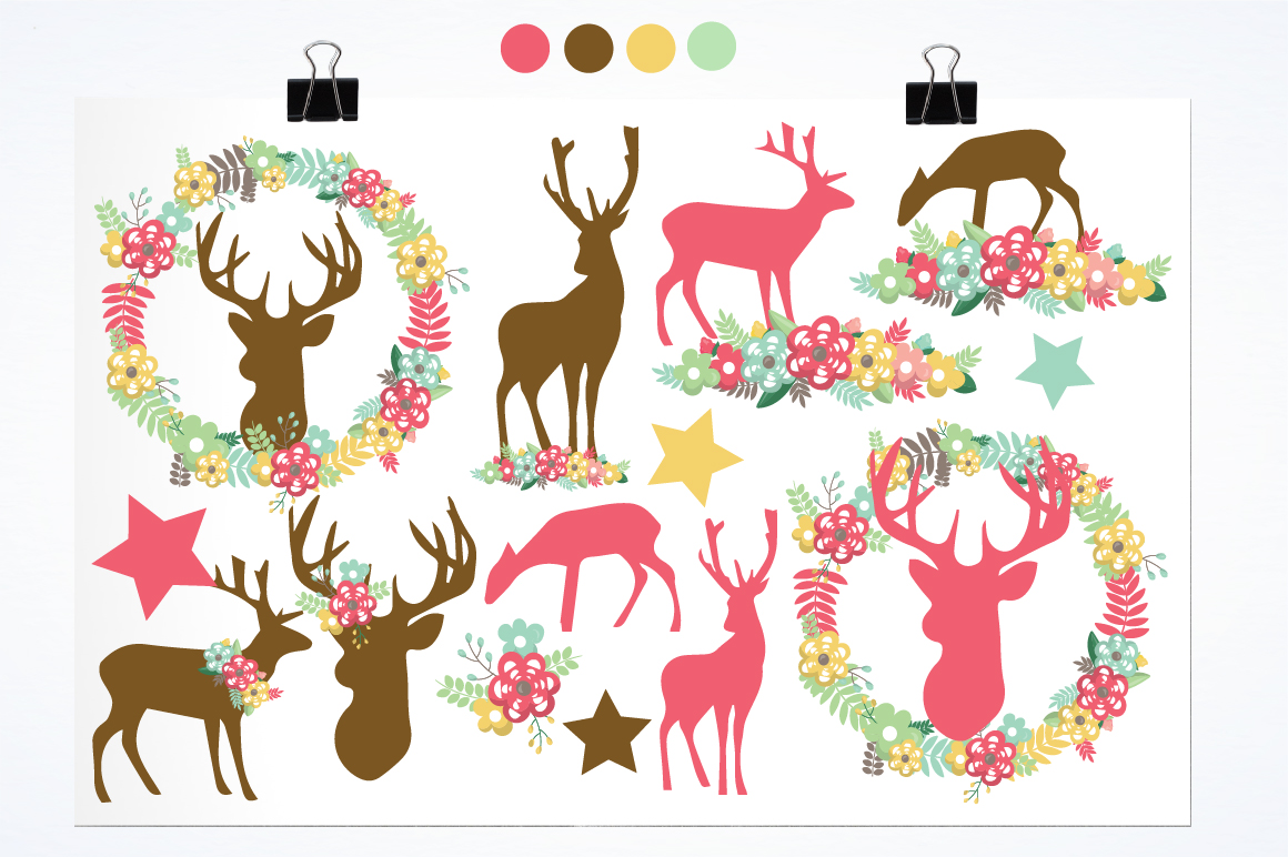 Floral Deers graphics and illustrations example image 2
