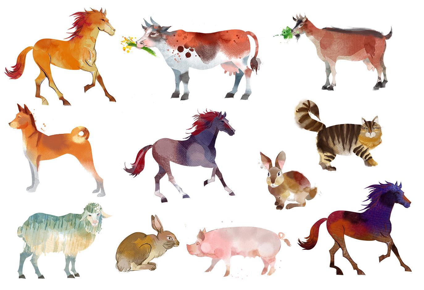 Watercolor animal set example image 2