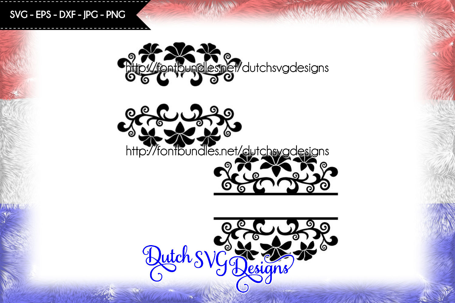 2 Split monogram cutting files with flowers example image 1