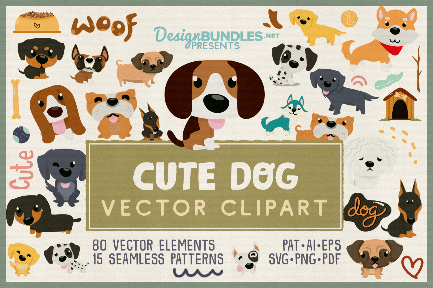80 Cute Dog Vector Clipart & Seamless Patterns example image 1