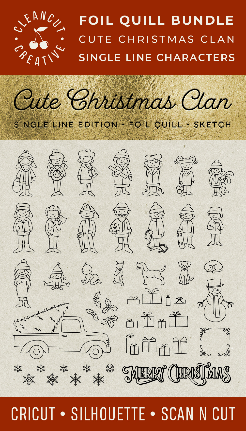 Foil Quill Edition - Cute Christmas Clan - family figures example image 4