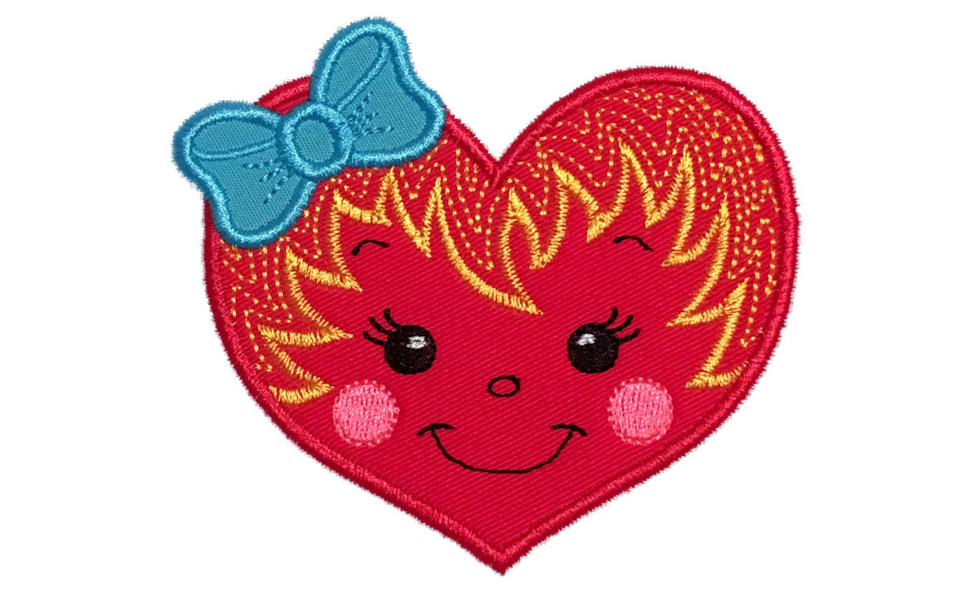 Girl heart machine embroidery applique design bundles