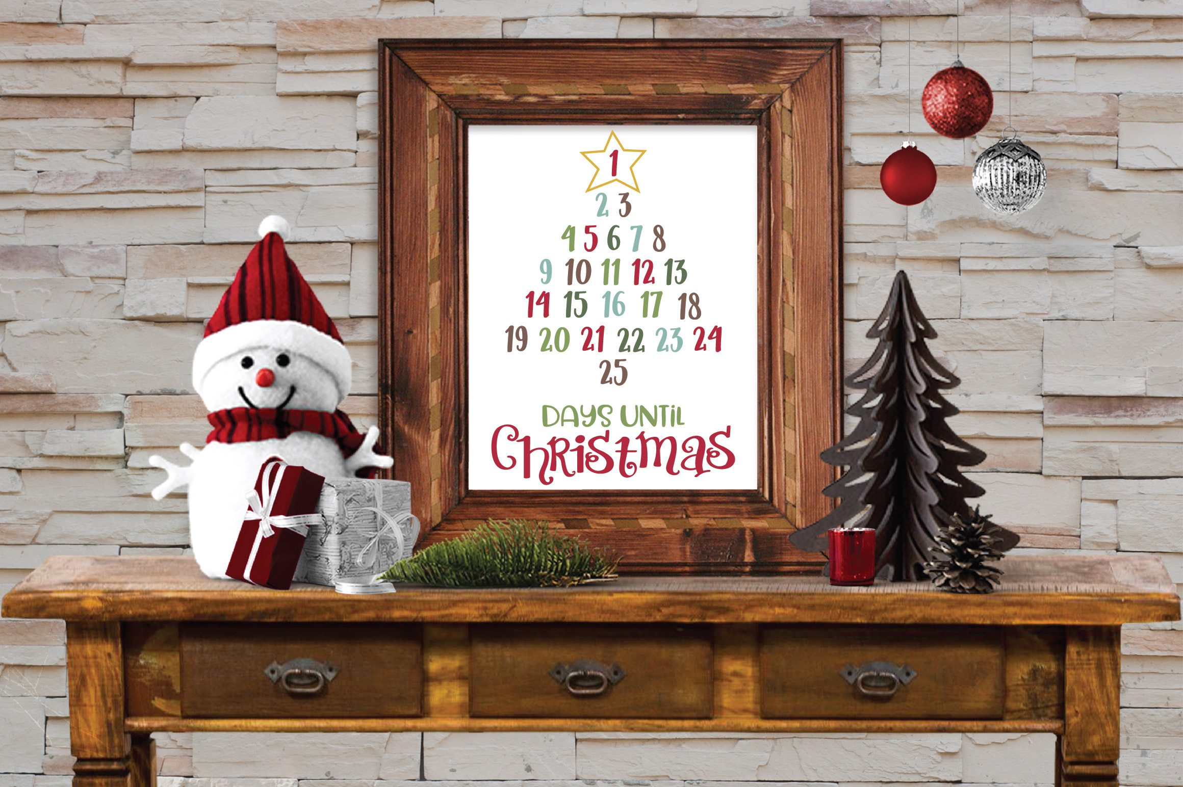 Christmas Countdown SVG Cut File - Christmas Number Tree example image 2
