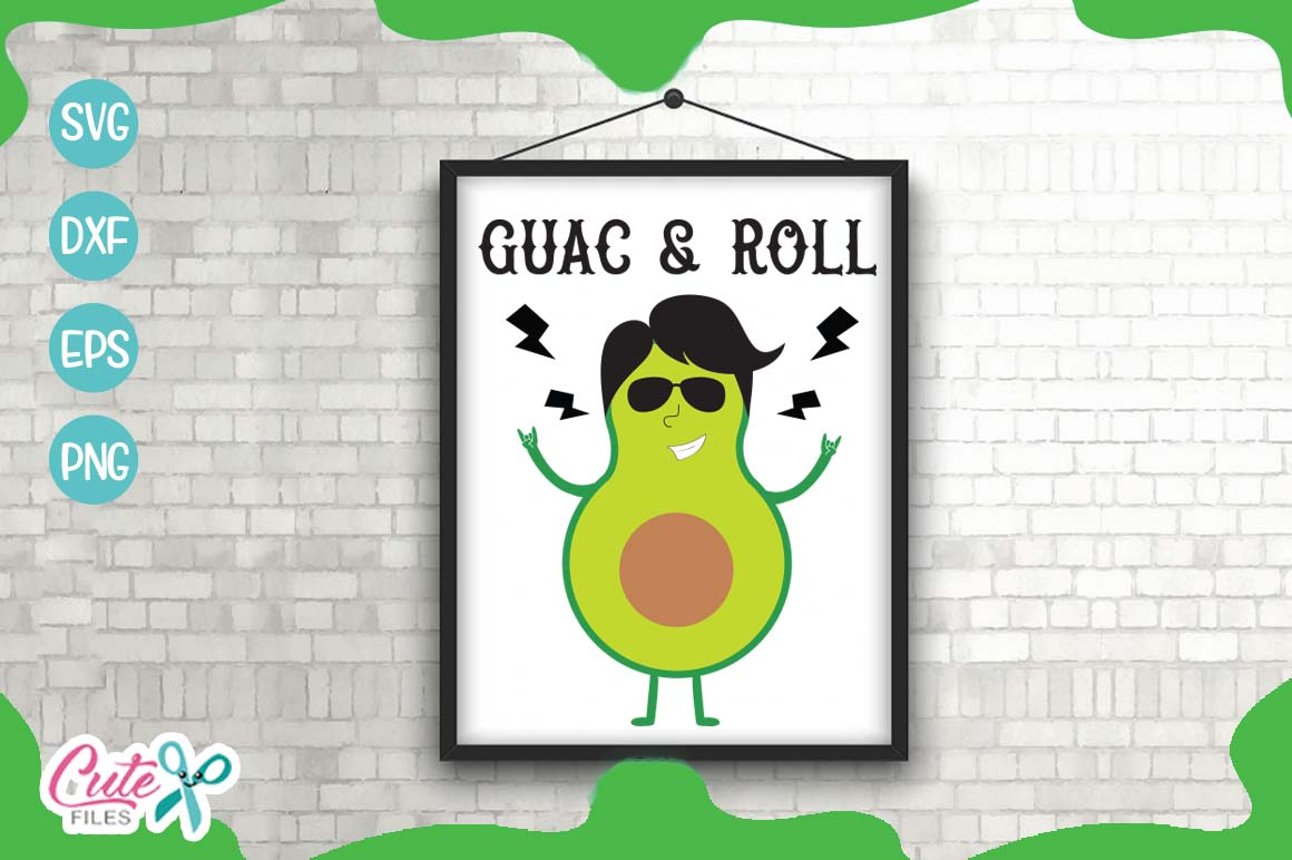 Guac and roll svg, mexican food svg cuts files example image 1