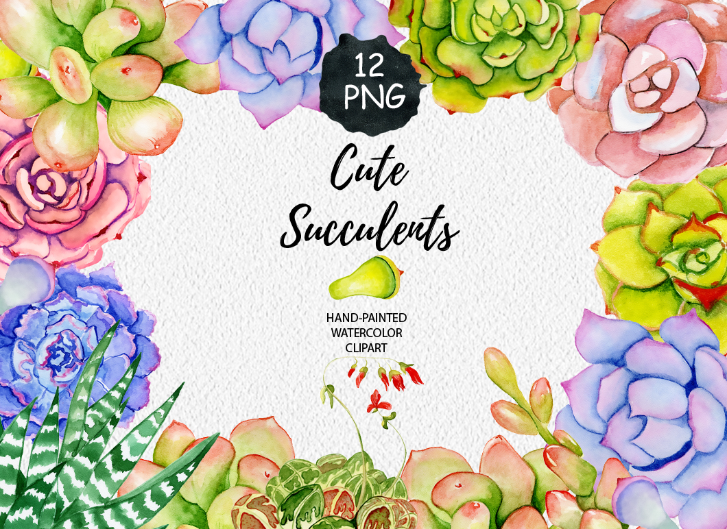 Succulents watercolor clipart example image 1