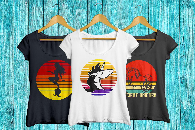 vintage sunset retro t-shirt designs, unicorn cat bear svg example image 2