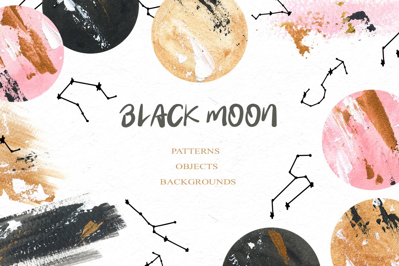 Black Moon clipart, Acrylic and watercolor moon, Star zodiac example image 1