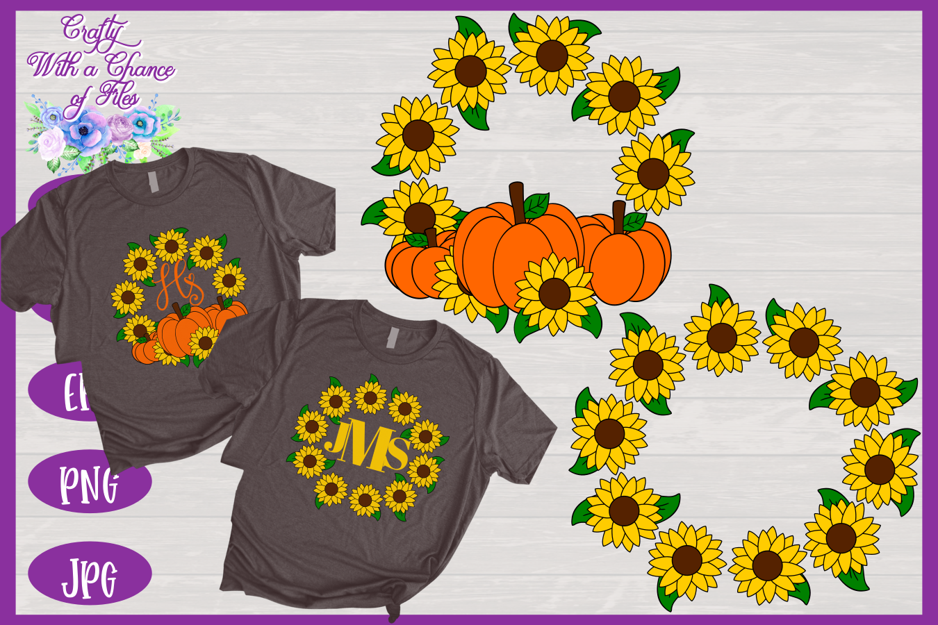 Sunflower Monogram SVG | Autumn SVG | Fall SVG | Monogram example image 1