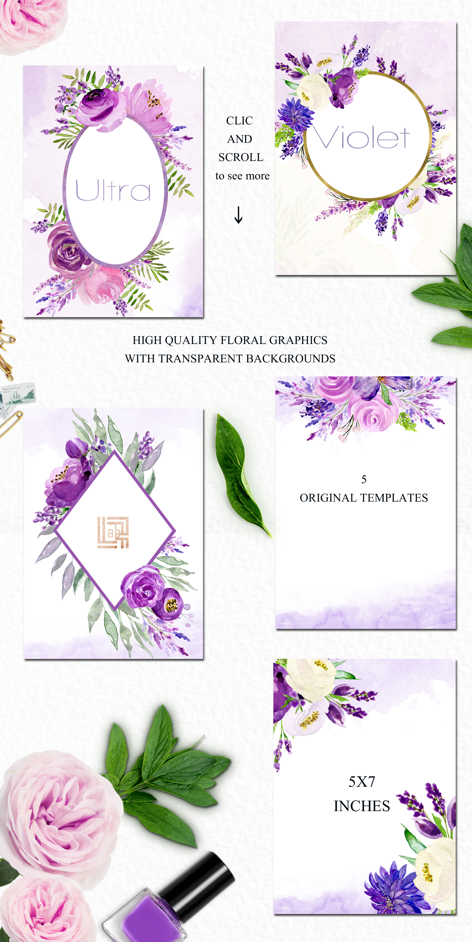 Ultra violet watercolor flowers example image 5