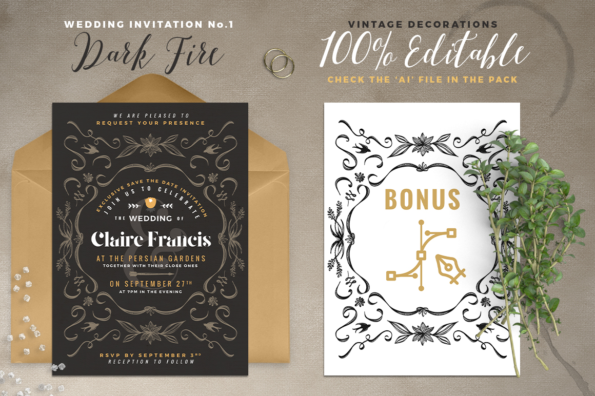 7 Vintage Deco Wedding Invitations I example image 2
