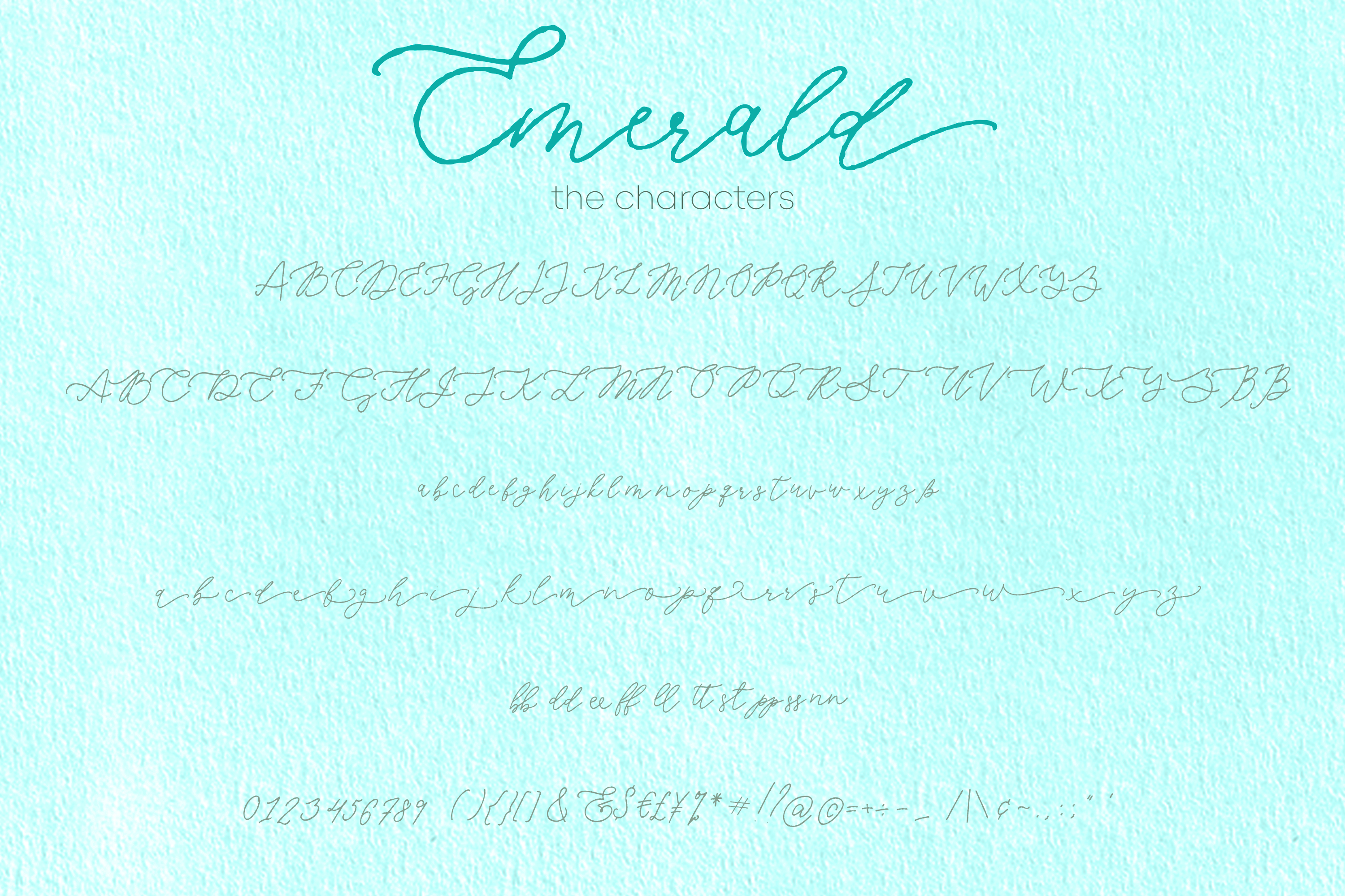 Emerald, imperfect modern calligraphy script example image 2