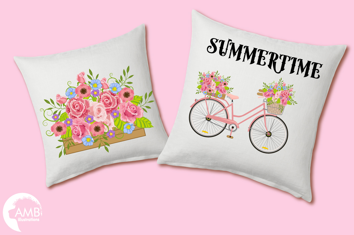 Bicycle in Pink graphics, clipart, illustration AMB-1323 example image 5