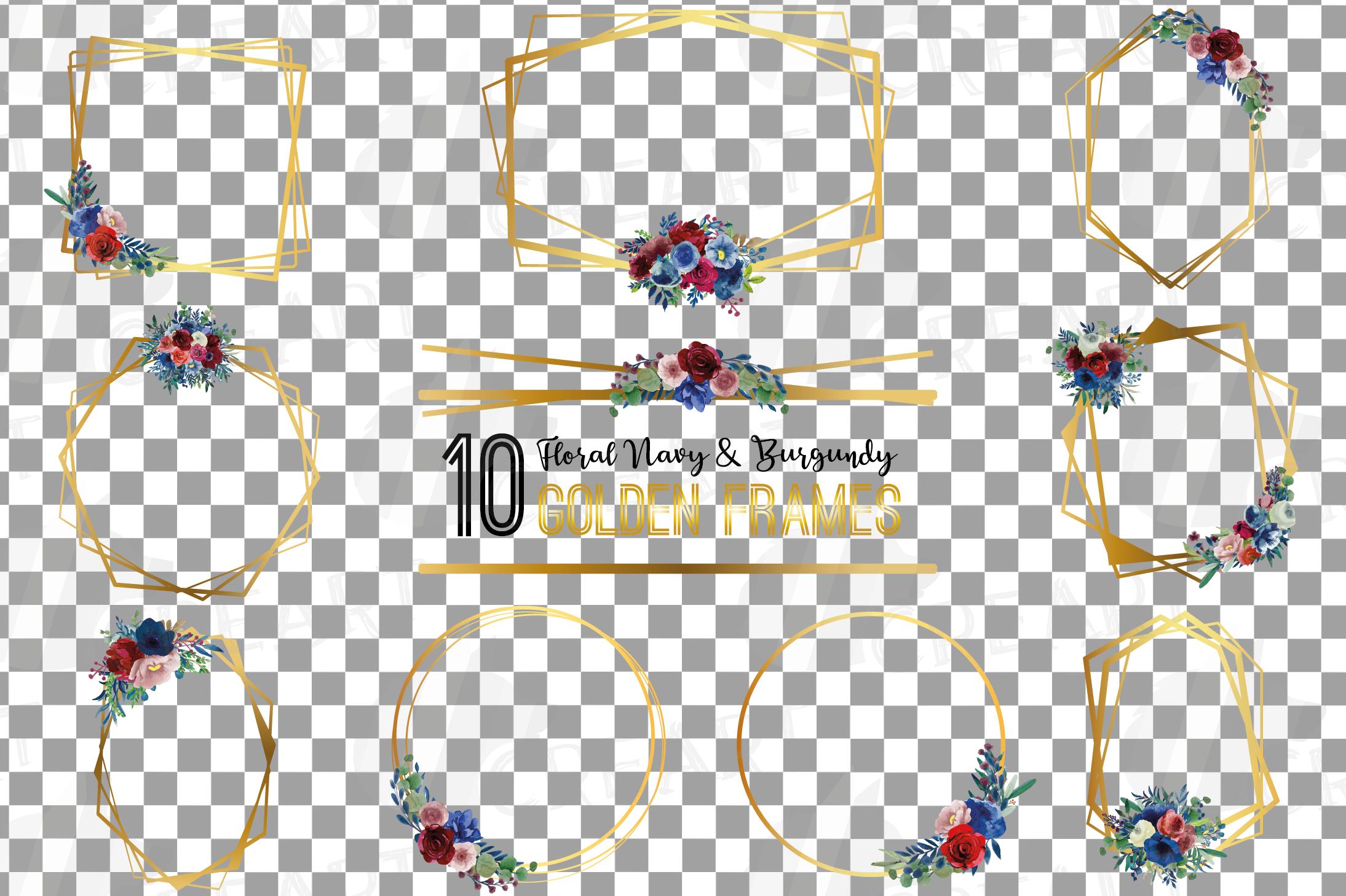 Watercolor elegant floral borders clip art. Wedding frames example image 2
