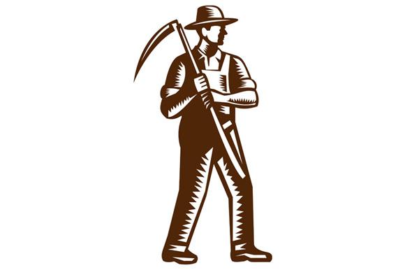 Organic Farmer Holding Scythe Woodcut example image 1