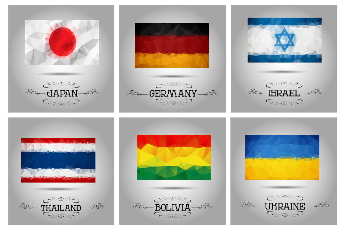 Polygonal flags vector set. example image 2