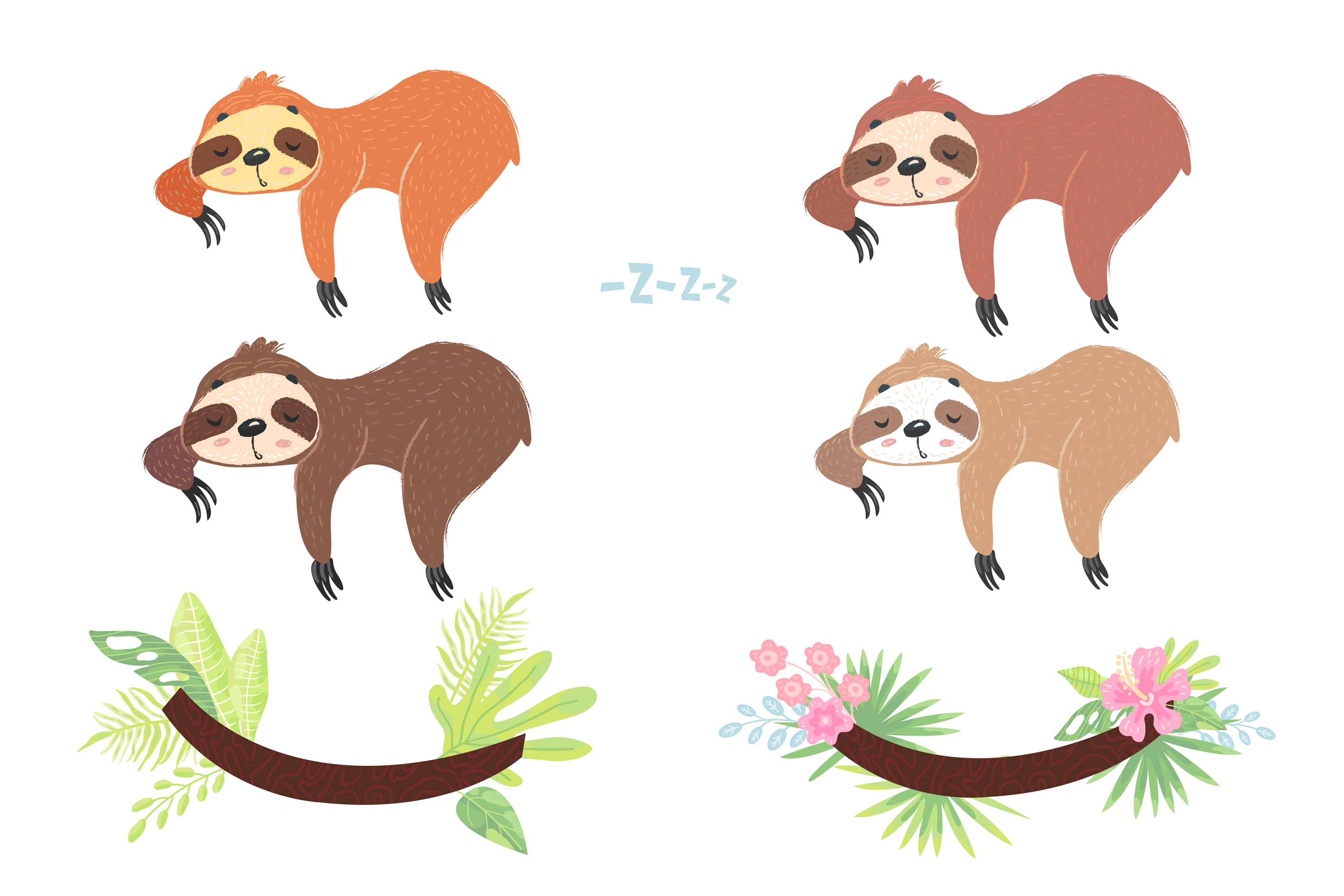 Sleepy Sloth Clipart Collection, Vector and Png example image 3
