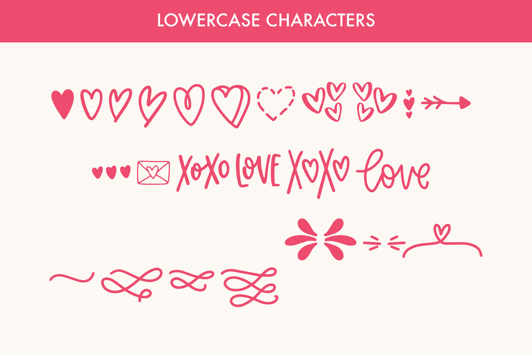 Love Struck, Thick Valentine's Heart Font example image 8