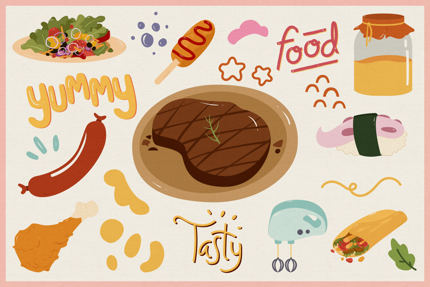 Food Vector Clipart & Seamless Patterns example image 4