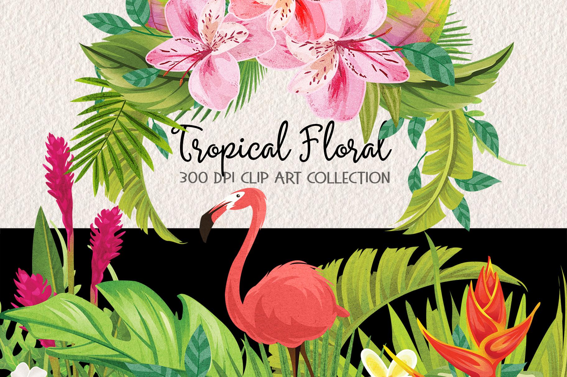 Tropical Floral Plants & Frames Set example image 1