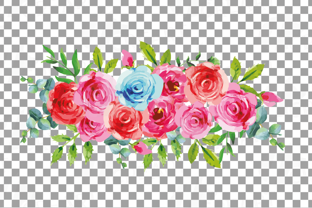 Boho pink and blue watercolor wedding bouquets, floral png example image 11