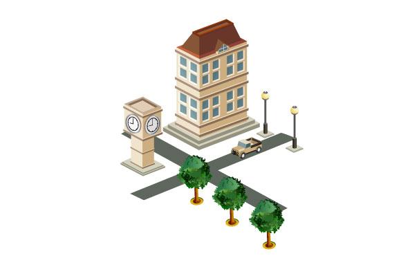 Isometric retro vector city example image 4