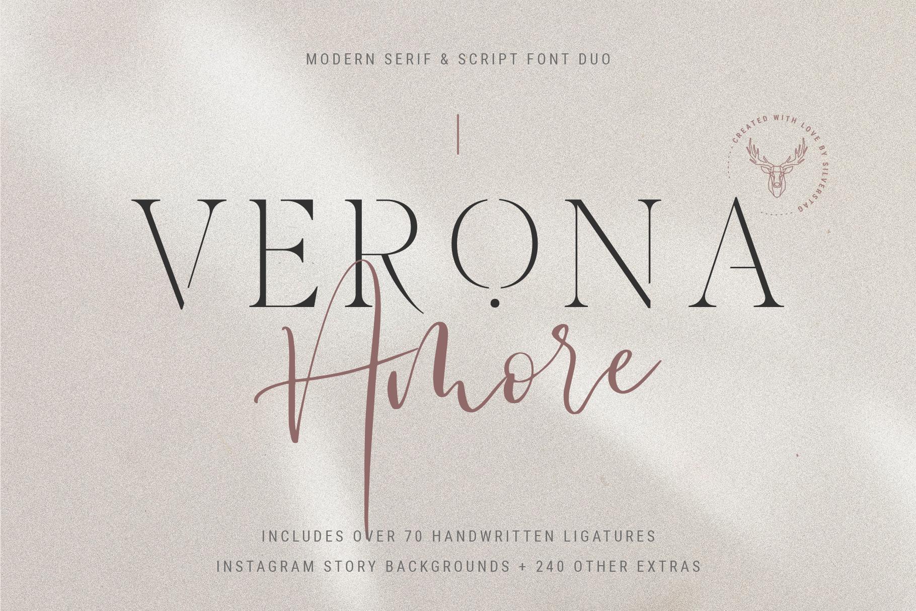Verona Amore - Modern Serif & Script Font Duo & Extras example image 1