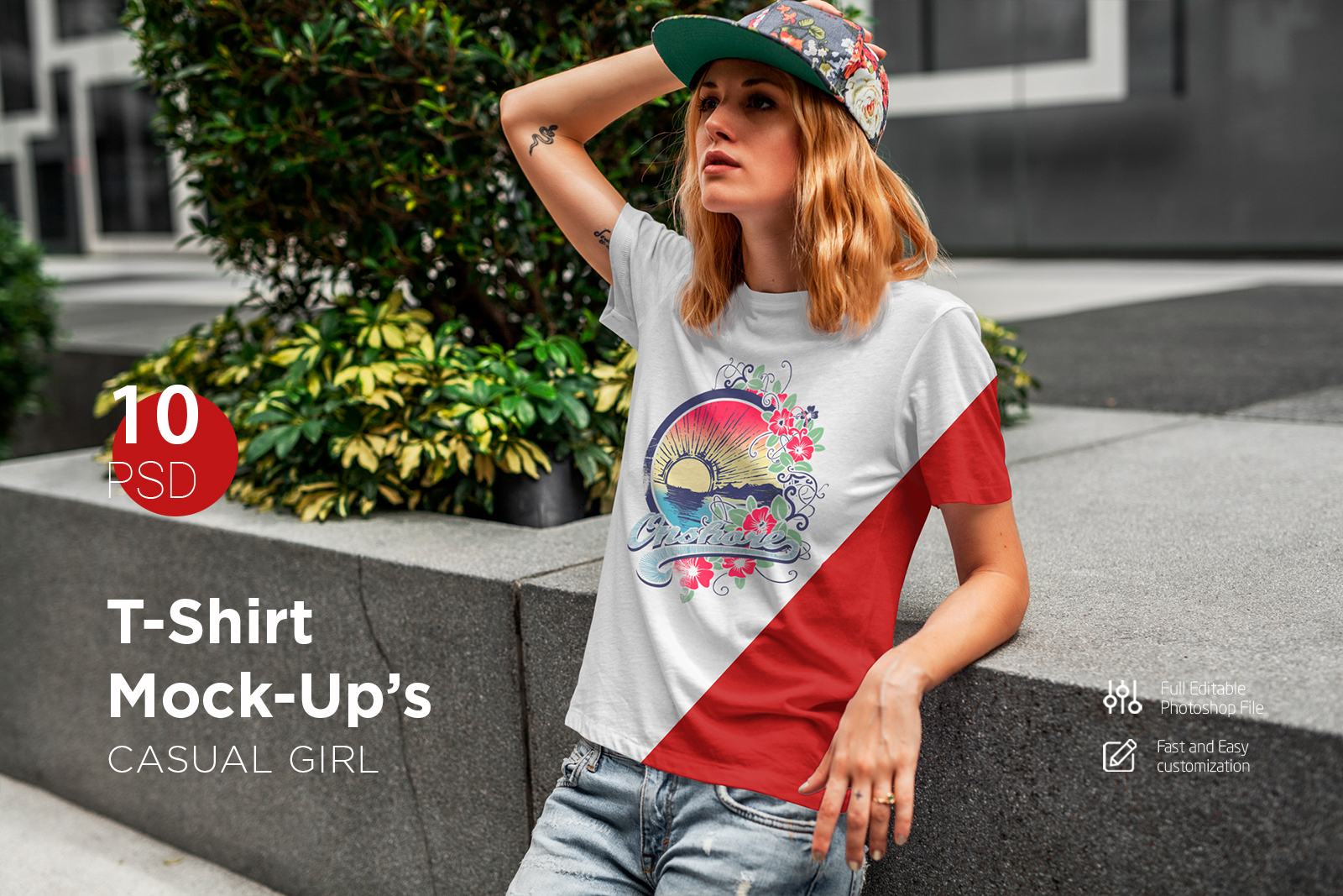 T-Shirt Mock-Up's Casual Girl example image 1