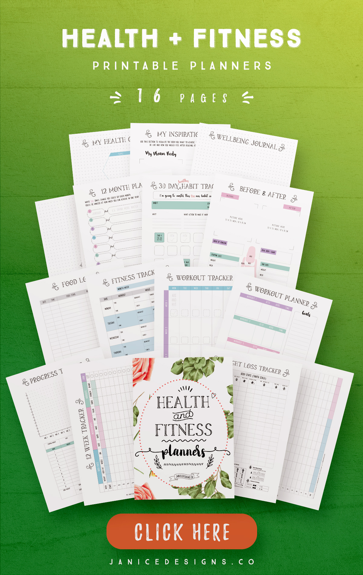 Health and Fitness Printable Planners - 16 Pages example image 2
