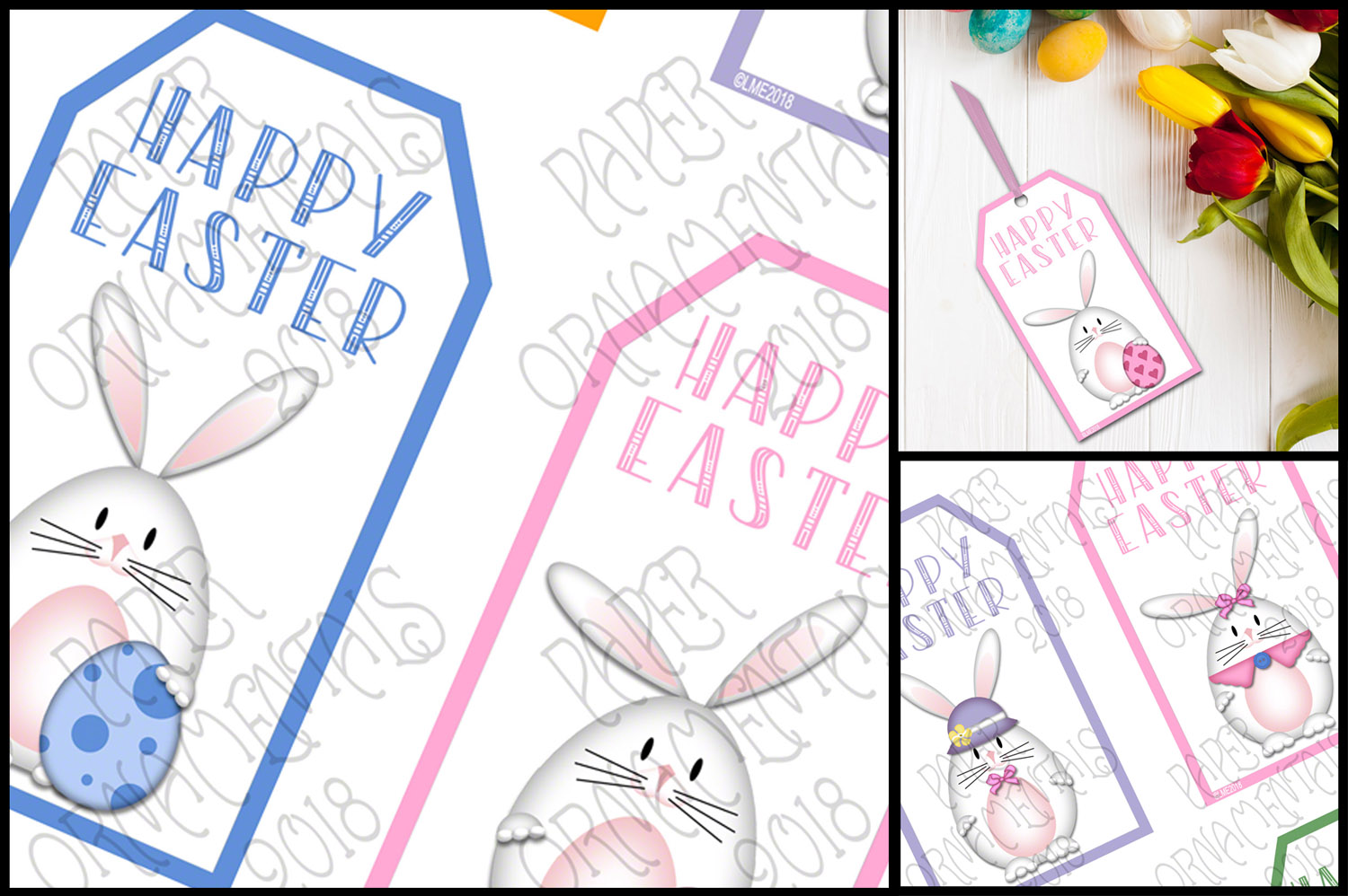 Printable Easter Gift Tags, White Bunnies example image 3