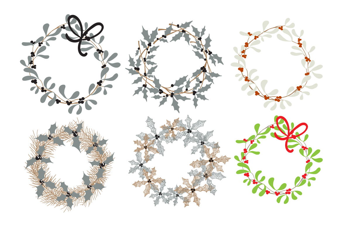 Set of Christmas wreaths example image 3