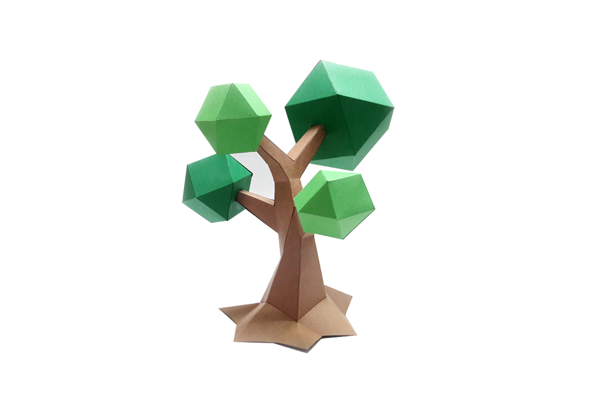 DIY Lowpoly Tree - 3d papercraft example image 2