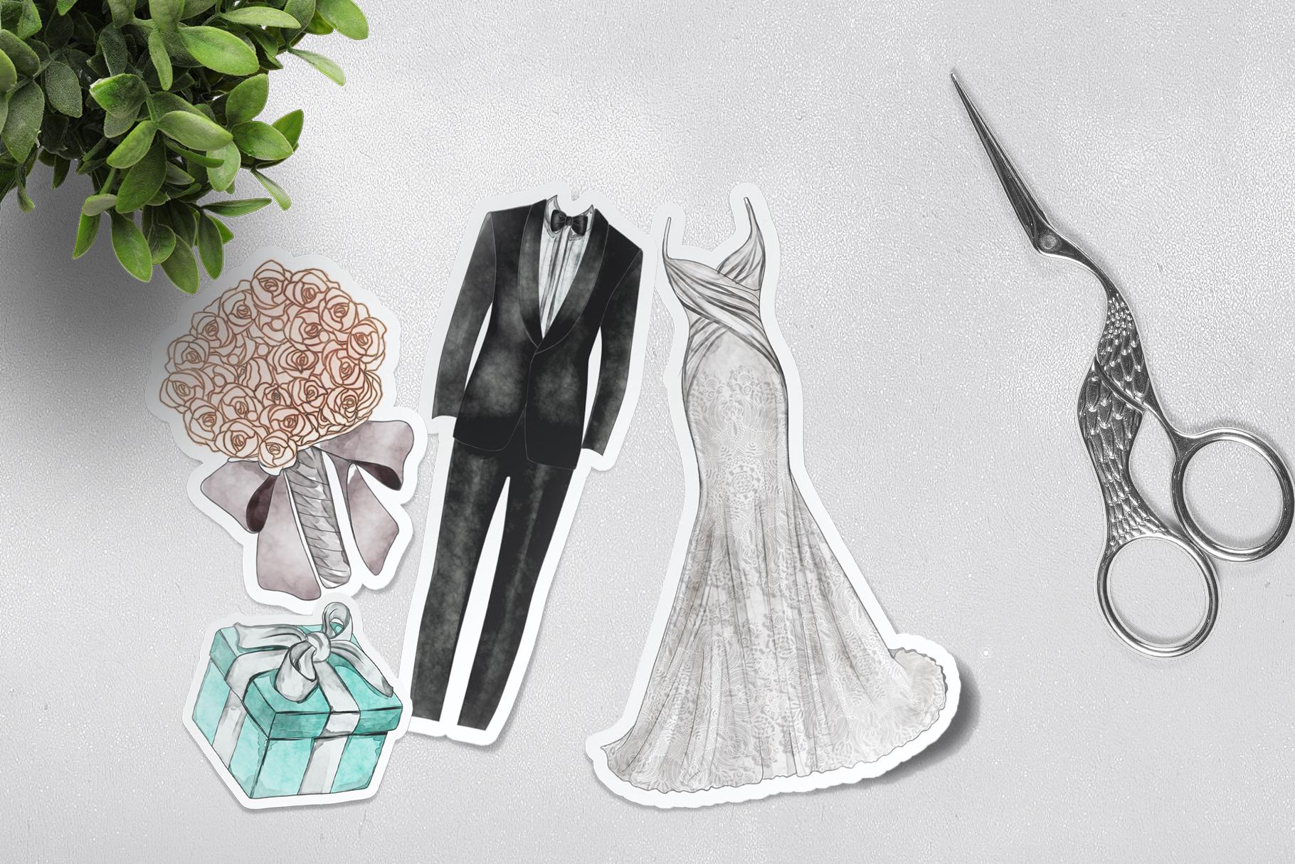 Watercolor Wedding Png set example image 6