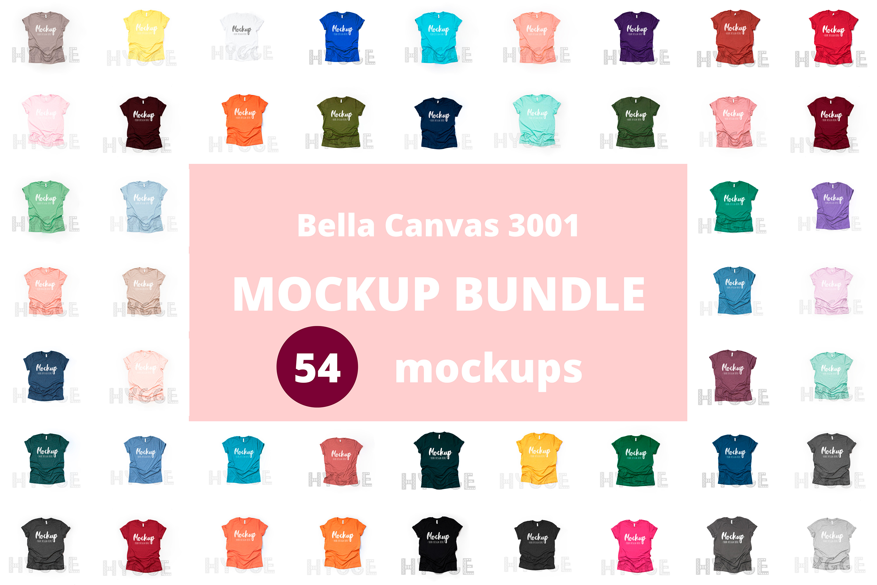 Tshirt Mockup Bundle Bella Canvas 3001 Basic tshirt mockups example image 1