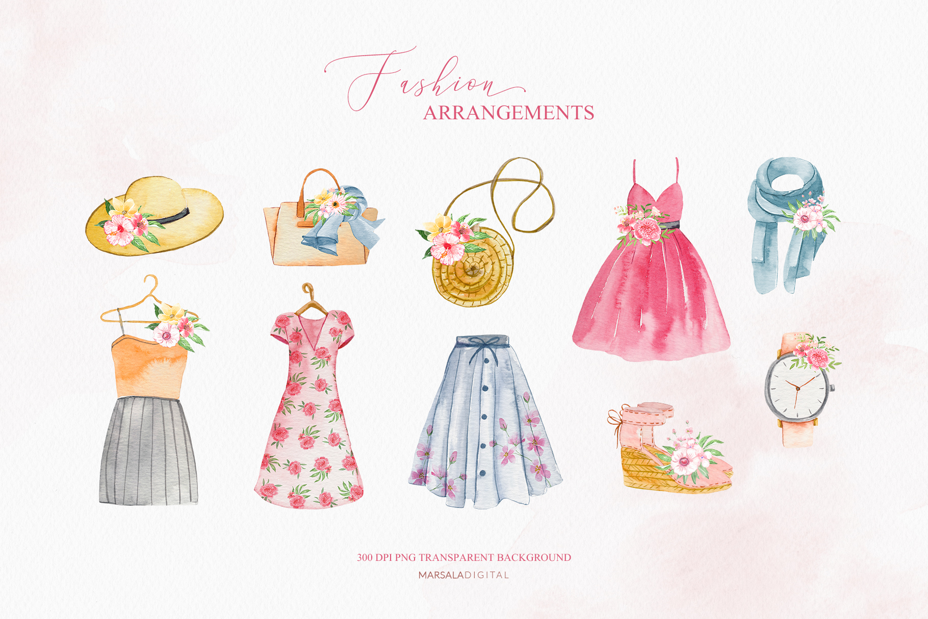 Fashion Watercolor Clipart, Bag, Shoes, Dress, Clothes example image 3