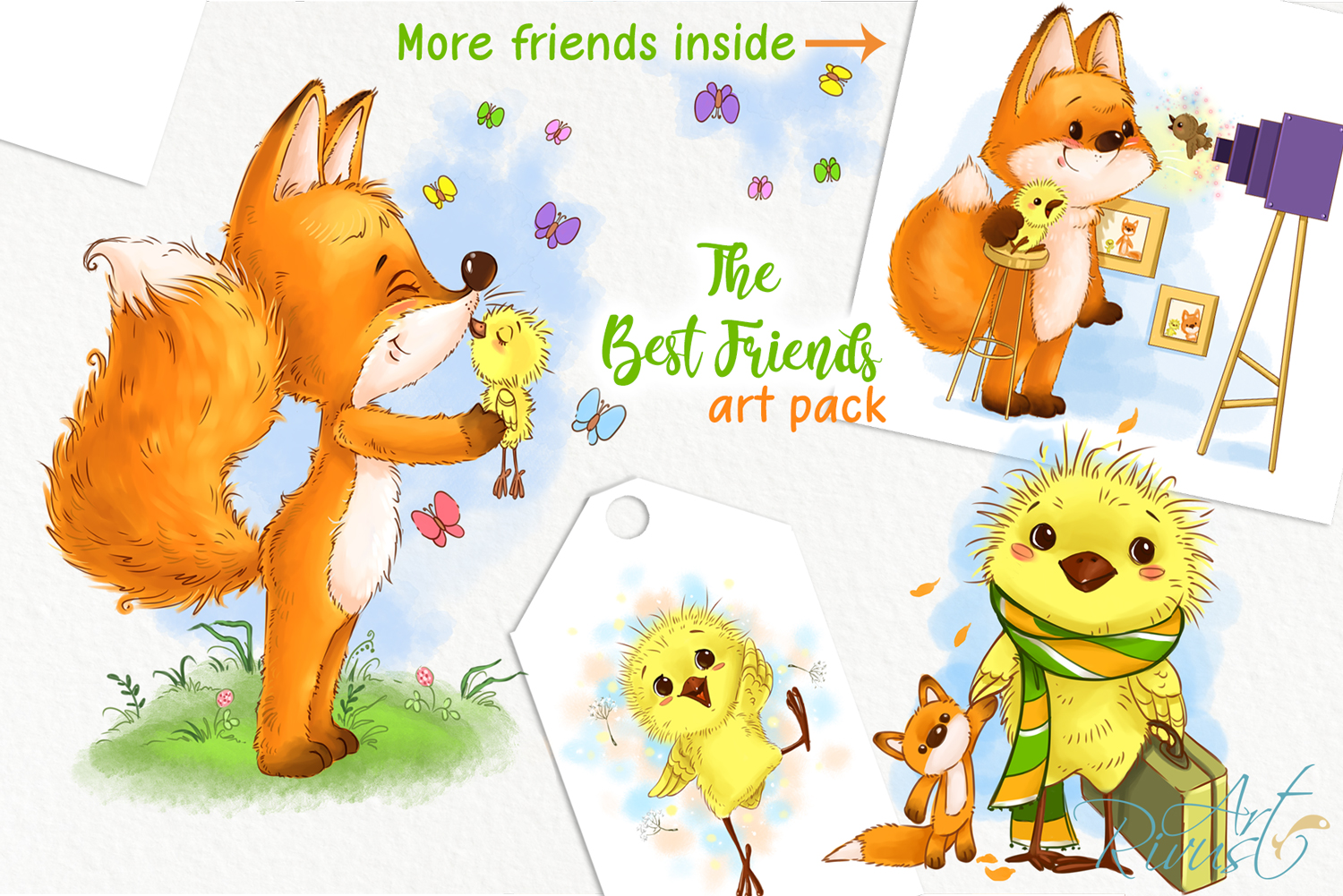 Fox and chick PNG clipart. The best friend graphic art. example image 1