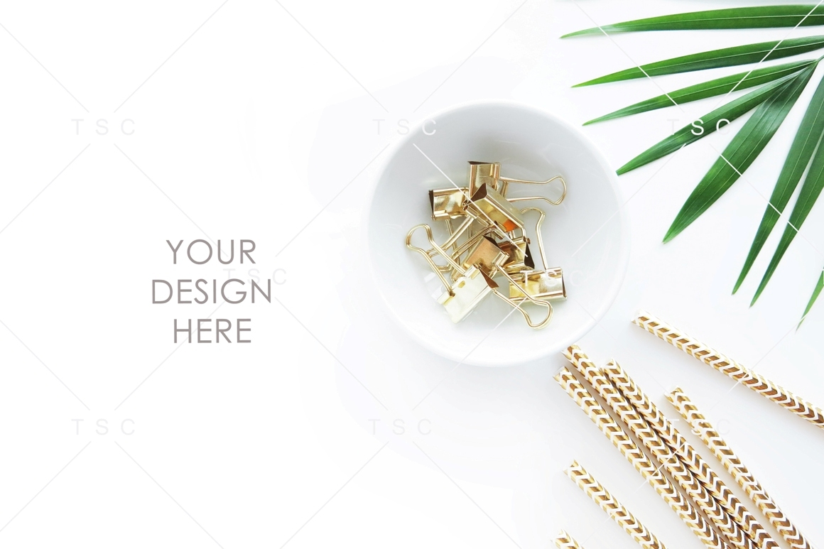 Gold Stationery & Palm Leaf Stock Photo example image 1