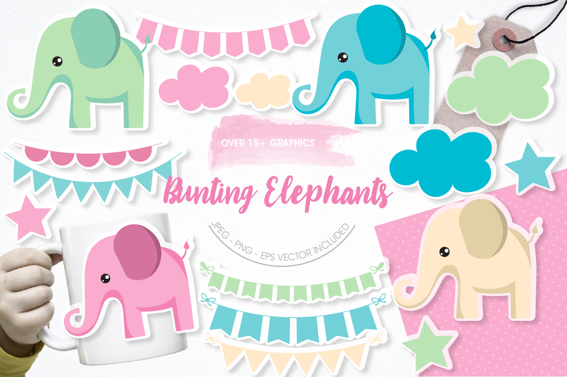 Bunting and elephants graphics and illustrations example image 1