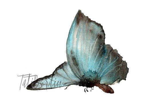 9 Watercolor Butterflies Clip Art example image 3
