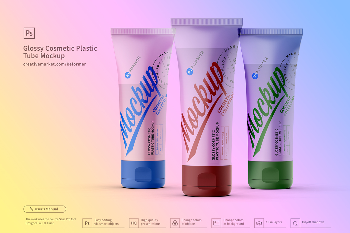 3 Glossy Cosmetic Plastic Tube Mockup example image 3