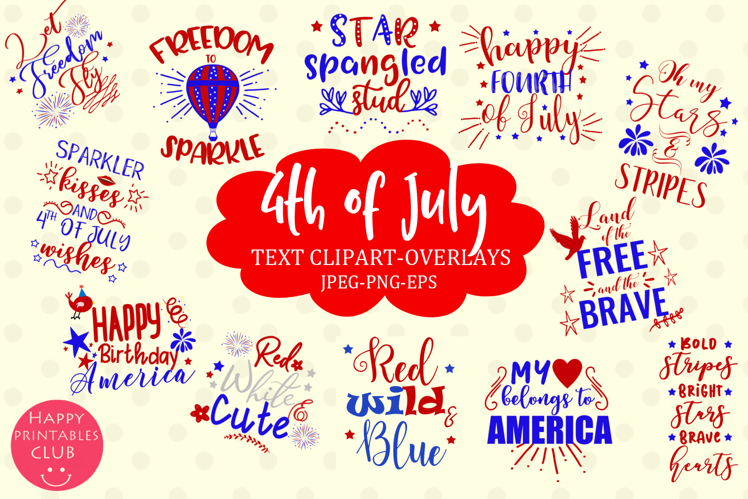 4th of July Text Clipart Overlays- July 4th Word Art Clipart example image 1