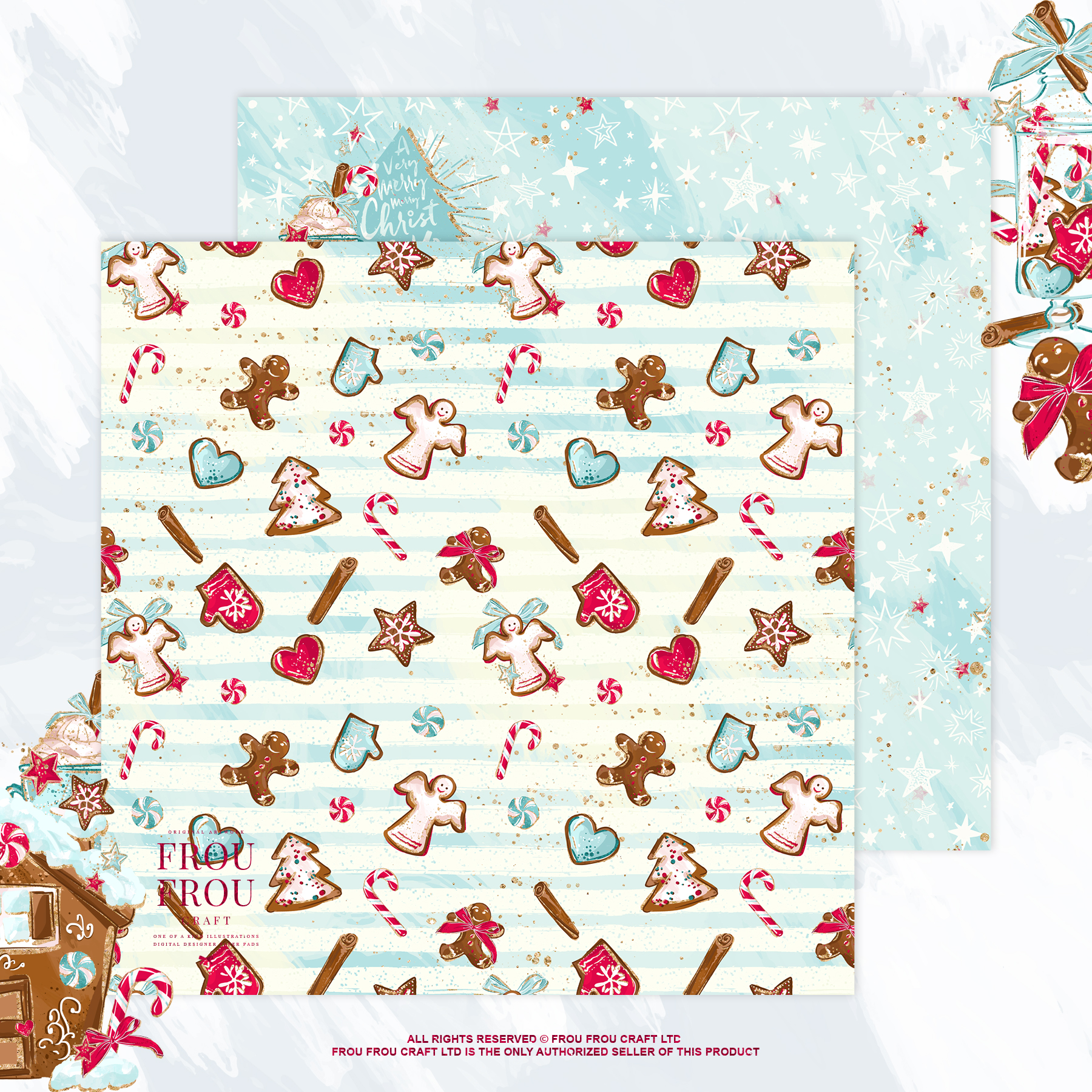 Christmas Winter Ginger Bread Sugar Cane Paper Pack example image 4